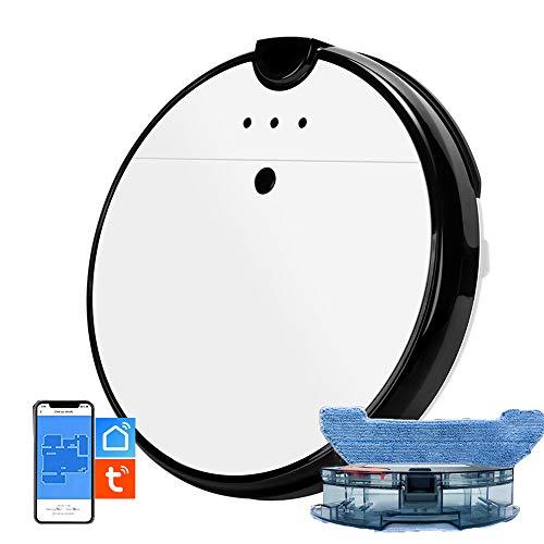 """IOSICAM Aspirapolvere Robot Lavatrice, Aspirapolvere e Mocio 2 in 1, APP""""TUYA SMART LIFE"""", compatibile con Alexa, alimentazione automatica, aspirazione potente da 1800 PA, pulizia personalizzata"""