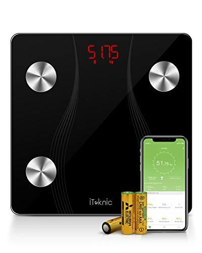 iTeknic - Bilancia pesapersone pesapersone per persona, Impedenzo, Bilancia collegata, bilancia persona, Bluetooth, elettronica, digitale, peso massa grassa e grasso muscolare, IMC per iOS Android