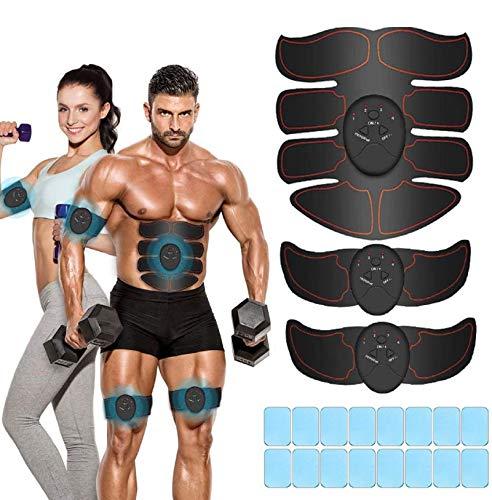 iThrough EMS Stimolatore Muscolare, Elettrostimolatore per Addominali, Elettrostimolatore Muscolare, ABS Trainer/Toner per Addome/Braccio/Vita/Gambe Home Gym con 16PCS Gel Pezzi