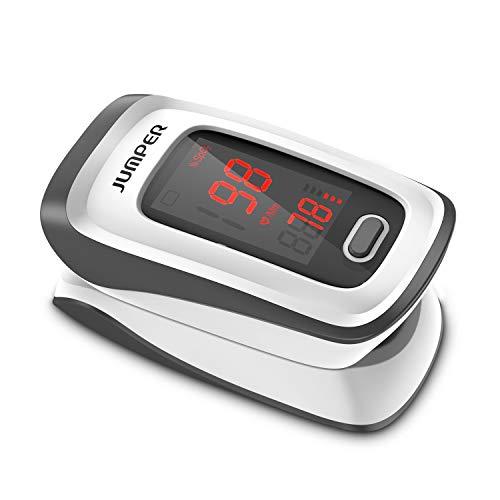 JUMPER Finger Pulsossimetro Meter Pulse Portable - SpO2 (Saturazione di Ossigeno nel Sangue) e Monitor di Frequenza Cardiaca - Con Display Digitale LED, Grigio