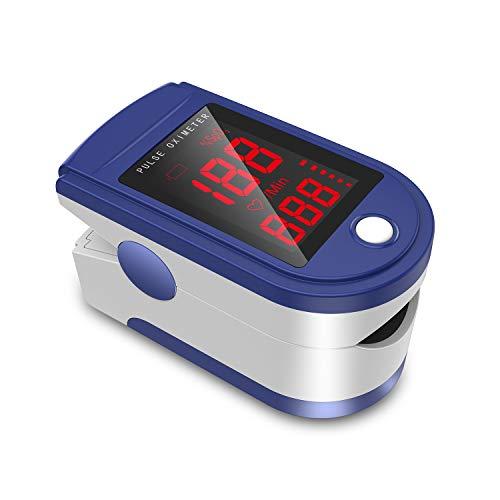 JUMPER Finger Pulsossimetro Meter Pulse Portable - SpO2 (Saturazione di Ossigeno nel Sangue) e Monitor di Frequenza Cardiaca - Con Display Digitale LED, CE & Approvato Dalla FDA (Blu)