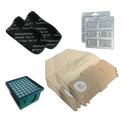 Kit 12 Sacchi/Sacchetti + 12 Profumini + Filtro HEPA/EPA + 2 Filtri ODORI per aspirapolvere Vorwerk Folletto Kobold VK 130, 131 SC, VK130, VK131