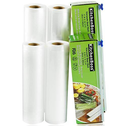 KitchenBoss Sacchetti Sottovuoto per Alimenti,4 Rotoli 20x500cm e 28x500cm Totale20M, (Non più forbici) Rotoli Sacchetti goffrati,per Conservazione Alimenti e Cottura Sous Vide