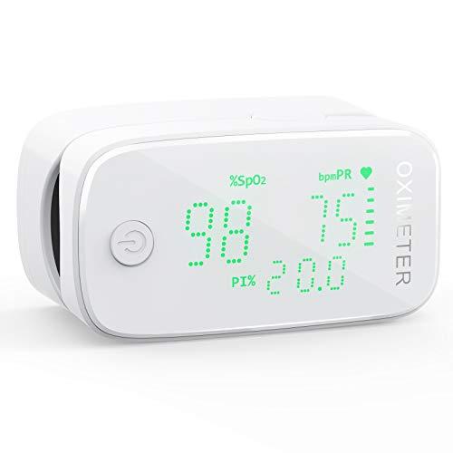 KKmier 3-in-1 Ossimetro Saturimetro Pulsossimetro da Dito Professionale, Monitor della Saturazione di Ossigeno nel Sangue SpO2, Monitoraggio di Frequenza Cardiaca, Misuratore per Indice di Perfusione