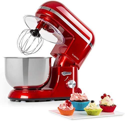 Klarstein Bella Elegance - Robot Da Cucina, Planetaria, Mixer, 1300 W / 1,7 HP in 6 Livelli di Potenza, Funzione a Impulsi, Ciotola in Acciaio Inox da 5 Litri, 3 Pezzi, Applicazioni Color Rame, Rosso