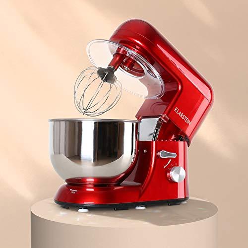 KLARSTEIN Bella Rossa - Robot da Cucina, Mixer, Impastatrice, 1200 W, 5,2 L, Sistema Planetario, 6 Velocità, Terrina in Acciaio, Ganci a Pressofusione, Braccio Multifunzionale, Rosso
