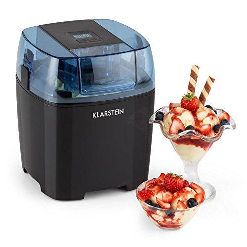 KLARSTEIN Creamberry gelatiera Macchina per sorbetti frullati (100W,Contenitore Termico, 1,5l, cestello Ghiaccio, Display Digitale, Basso consumo energetico) - Nero