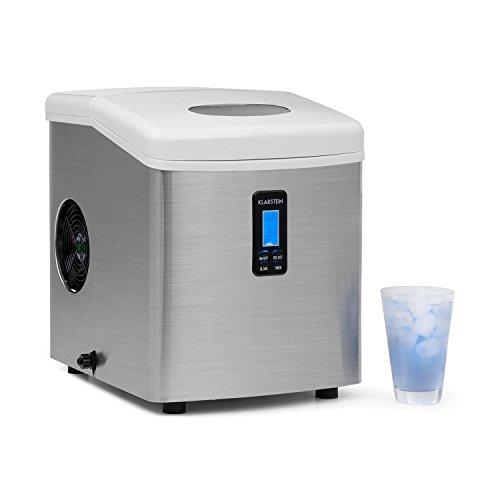 Klarstein Mr. Silver-Frost - Macchina per Cubetti di Ghiaccio, 15 kg/24 h, 150 Watt, 3 Dimensioni Cubetti, Preparazione in 6-15 min, Serbatoio d´Acqua: 3,3L, Timer, Display LCD, Bianco