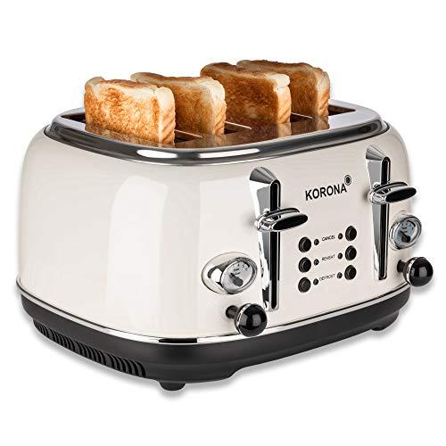 Korona 21676 - Tostapane a 4 fette, crema, indicatore di tostatura, scongelamento, riscaldamento, 1630 Watt, accessorio per panini, cassetto raccoglibriciole, centraggio del disco del pane