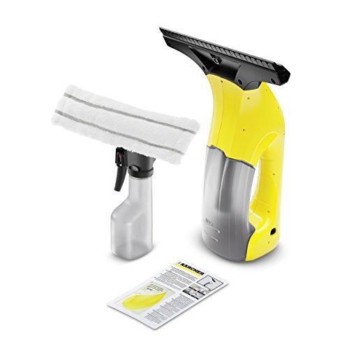 Kärcher WV 1 Plus - Aspiragocce a Batteria, Capacità Serbatoio 100 ml, Resa per Carica 18 Finestre, Ampiezza di Lavoro 250 cm, Flacone Spray, 2 Bocchette, Lavavetri, Caricabatteria