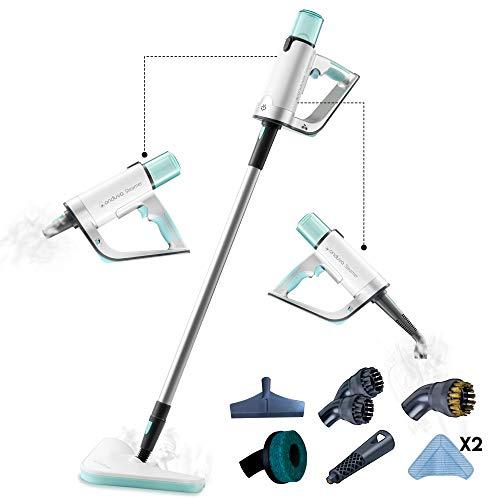Lavapavimenti a Vapore 14 in 1 - Con pulitore a mano - Elimina il 99,99% dei Batteri - con 2 Panni Microfibra Lavabili - Per una Pulizia sana, ecologica, rapida - Pulitore a Vapore per ogni superficie