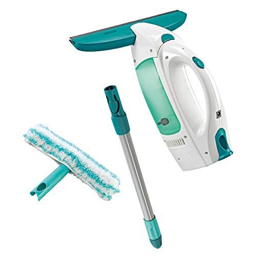 Leifheit Dry & Clean Set Lavavetri elettrico con manico e washer finestre, Tergivetro professionale fino a 35 min con 1 carica, Tira acqua da doccia