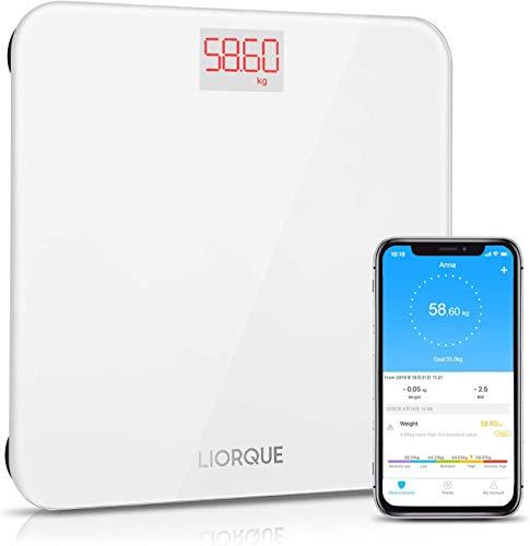 LIORQUE Bilancia Digitale con App, Bilancia Pesa Persona Digitale per smartphone iOS e Android per Tutta la Famiglia, Sensore Automatico, Bianco