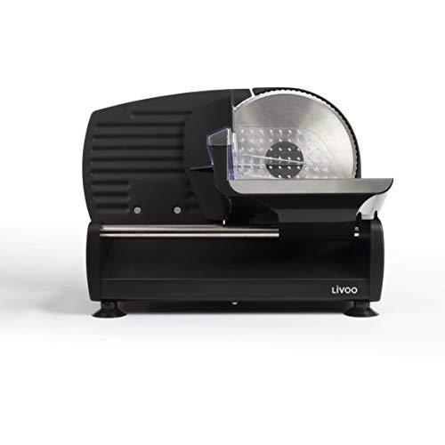 LIVOO DOM396 - Affettatrice elettrica per gambe, pane, salumi, formaggio, lama Ø 19 cm, in acciaio inox, taglio regolabile da 0 a 15 mm, 150 W