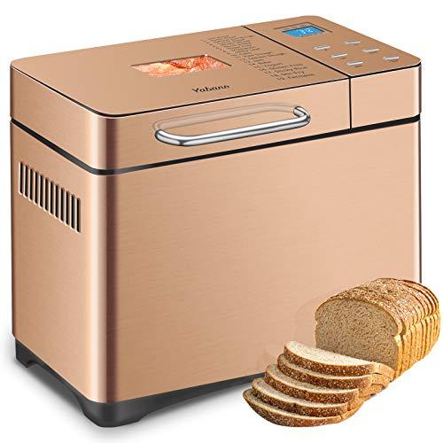 Macchina per il pane in acciaio inossidabile, macchina per il pane XL programmabile 19-in-1 2LB con distributore di frutta secca, padella in ceramica antiaderente e pannello touch digitale