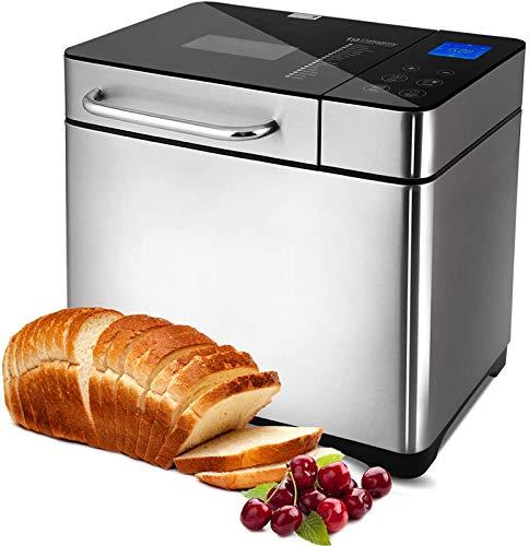 Macchina per il pane programmabile, 19 programmi da 710 W, con display retroilluminato blu e timer programmabile 15 ore, argento (rosso)