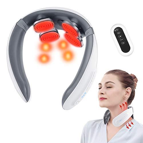 Massaggiatore Cervicale 4D, Massaggio Cervicale Elettrico a Impulsi con Calore per Alleviare il Dolore, 6 Modalità e 18 Livelli con promemoria vocale e telecomando