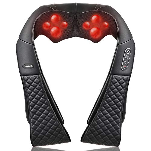 Massaggiatore elettrico per collo, spalle, schiena, collo, con funzione termica e cinturino allungato per il braccio, massaggio Shiatsu 3D, per rilassarsi a casa, in ufficio e in auto