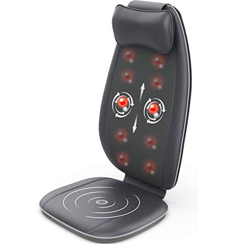 Massaggiatore Schiena, RENPHO Sedile Massaggiante Shiatsu a Forma di S con Vibrazione, Pad Massaggiatore per Sedile per Rilassamento delle Spalle, Vita, Fianchi e Dolore Muscolare