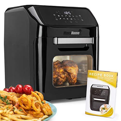 MaxxHome Friggitrice ad Aria Calda XXL - Forno per friggere 9 in 1 - Touch Screen - 1600 W + Ricettario e accessori
