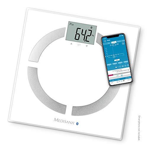 Medisana BS 444 Connect, Bilancia Digitale per Analisi Corporea 180 Kg, Bilancia Personale per La Misurazione del Grasso Corporeo, Acqua Corporea, Massa Muscolare e Peso Osseo con App