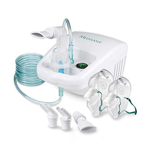 Medisana IN 500 Inalatore, Nebulizzatore ad Ultrasuoni con Boccaglio e Maschera per Adulti e Bambini, per Raffreddori o Asma con Accessori Extra e Tubo Lungo