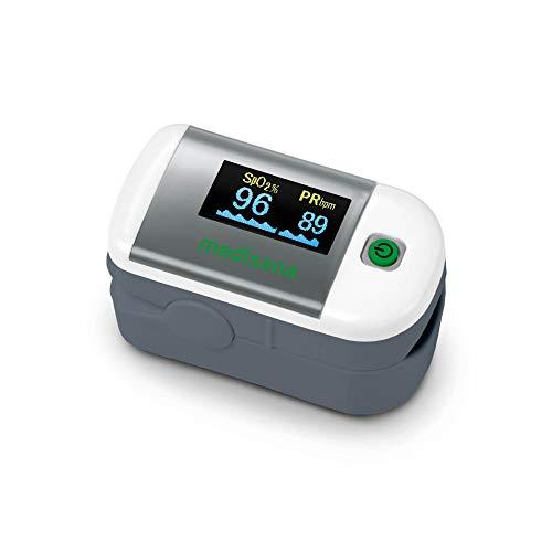 Medisana PM 100 Pulsossimetro Misurazione della Saturazione di Ossigeno nel Sangue, Pulsossimetro a Dito con Display Oled e Funzionamento One-Touch, Senza Supporto per VitaDock+ App