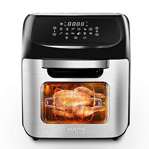 MIC Friggitrice ad aria calda 12 L XXL con ricettario, forno in acciaio inox 1800 W, 12 in 1 forno ad aria calda con display digitale a LED, Air Fryer disidrator, 14 accessori