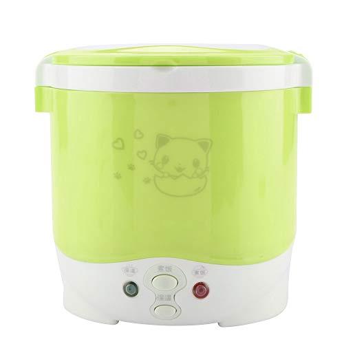 Mini piroscafo per riso, Fornello di riso elettrico da viaggio 12V 100W 1L, Pranzo al vapore con cottura multifunzione per la scuola di home office di automobili(verde)