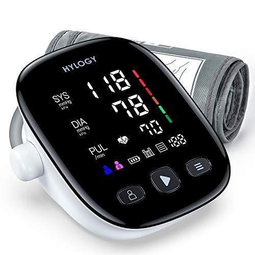 Misuratore di Pressione Digitale, HYLOGY Sfigmomanometro da Braccio, Grande Schermo LED, 2 * 90 Memoria USB