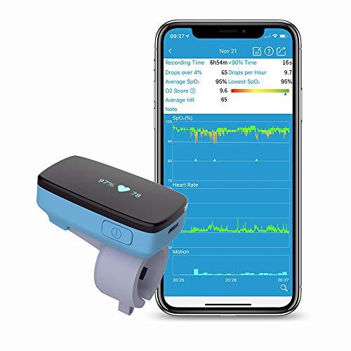 Monitor di ossigeno del sonno Viatom con allarme di vibrazione per apnea del sonno, sostituzione del saturimetro per la macchina CPAP con soluzione di russamento con bluetooth