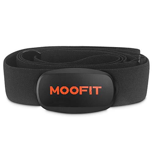 moofit Bluetooth & Ant+ Cardiofrequenzimetro con Fascia Toracica IP67 Impermeabile Fascia Toracica Cardiofrequenzimetro Sensore di Frequenza Cardiaca Toracico per iOS, Android