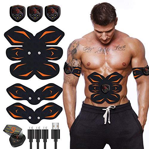 Moonssy Elettrostimolatore per Addominali, Elettrostimolatore Muscolare Professionale per Braccio/Gambe/Glutei, EMS Stimolatore Addominale, USB Ricaricabile, 6 modalità e 9 Livelli di Intensità