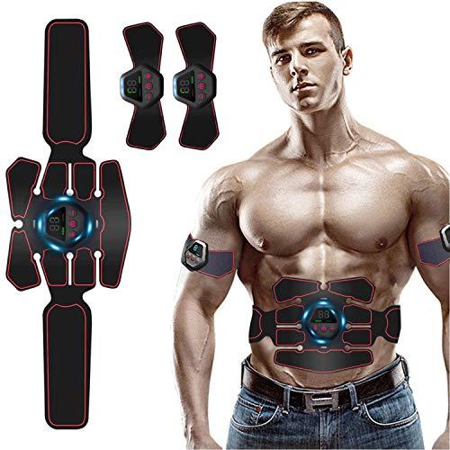 Moonssy Elettrostimolatore per Addominali, EMS Elettrostimolatore Muscolare Professionale USB Ricaricabile Patch Trainer Schermo Intelligente ABS Stimolatore Muscolare