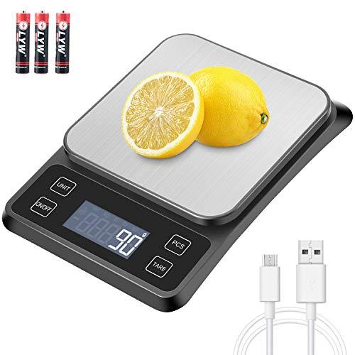 MOSUO Bilancia da Cucina Elettronica con Carica USB, Bilancia Digitale da Cucina 10kg/1g Alimenti Bilancia Cucina Digitale, Funzione Tare, LCD Display Acciaio Inossidabile (Batterie Incluse)