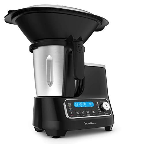 Moulinex ClickChef HF4SPR30 – Robot da cucina multifunzione 3,6 l (riproduzione in spagnolo, 5 programmi auto, temperatura da 30 a 120 °C, 12 velocità, 1400 W, 32 funzioni, bilancia e vaporiera) nero