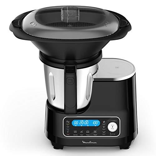 Moulinex HF4568K ClickChef, Robot da Cucina, Ricette pronte in 2 click, 5 programmi automatici e modalità manuale, 7 accessori, 3.6 L di capacità e ricettario incluso, Nero