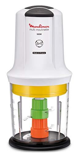 Moulinex Multimoulinette Multi Moulinette 6-in-1, 500 W, 0.5 Litri, di plastica, 2 velocità, Bianco
