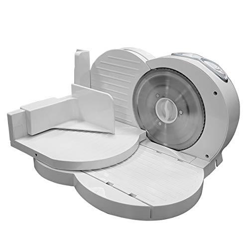 MPM MKR-03 - Affettatrice pieghevole bianca, spessore di taglio regolabile 15 mm, disco taglio 17 cm, 150 W