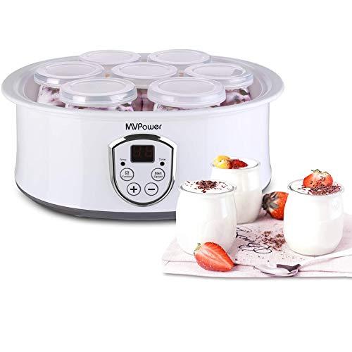 MVPOWER Yogurtiera Elettrica con Display LCD Yogurteria in Acciaio Inossidabile con 7 Vasetti in Vetro 180ml, Controllo Della Temperatura Timer (Yogurtiera)