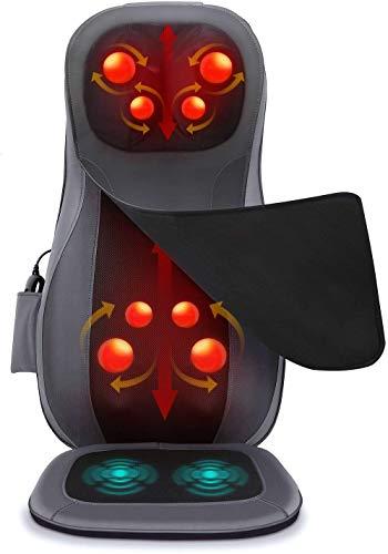 Naipo Cuscino Sedile Massaggiante, Shiatsu Massaggiatore per Collo e Schiena, Sedile di Vibrazione, Funzione di Calore con Telecomando Control per Casa, Ufficio
