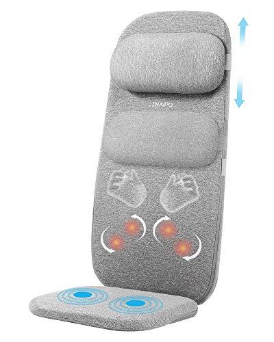 Naipo Massaggiatore schiena cuscino per massaggio sedile massaggiante per la schiena Il massaggiatore elettrico con funzione termica può rilassare i muscoli della schiena a casa o in ufficio