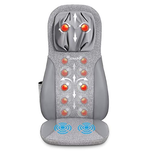 Naipo Sedile Massaggiante con Calore - Massaggiatore Shiatsu a Vibrazione Seduta Massaggiante con Regolazione in Altezza Massaggiatore Elettrico per Collo e Schiena a Casa o in Ufficio