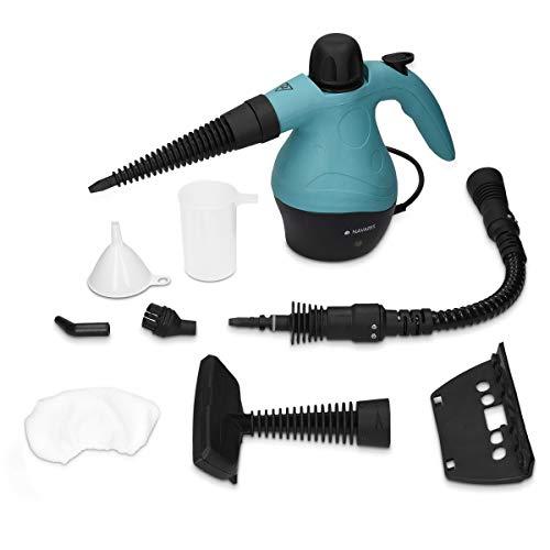 Navaris Pulitore a Vapore Elettrico Portatile - Set 9 Accessori Pulitrice a Vapore Palmare 135°C 1050W - per Pulire Pavimenti Divani Vetri Tende Auto