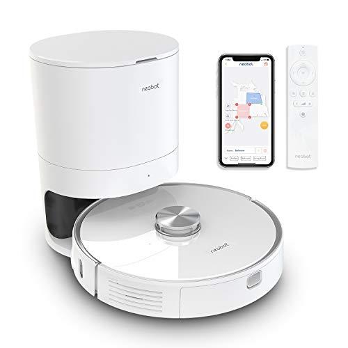 Neabot NoMo Robot Aspirapolvere con stazione di aspirazione automatica, Wi-Fi Robot Navigazione laser, mappatura intelligente, controllo App/Alexa/Google