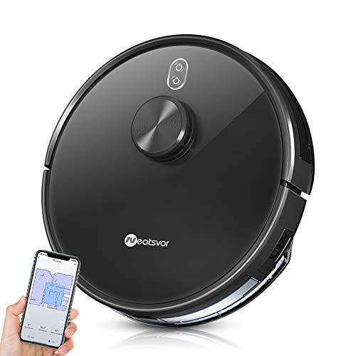 Neatsvor X600 Robot aspirapolvere ,aspirazione 4000pa, navigazione laser aspirapolvere, spazzare, strofinare e pulire, per pavimenti duri e animali domestici, Controllo con Google Home, Alexa App