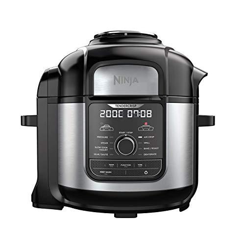 Ninja Multi Cooker Multicooker Max OP500EU, Brushed Stainless Ceramic Coated Cooking Pots/Plastic, Steel/Black