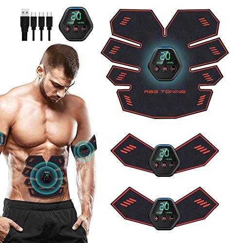 Nitoer Elettrostimolatore per Addominali Elettrostimolatore Muscolare,USB Addominale Tonificante Cintura, LCD Display,Addome/Braccio/Gamba per Uomo o Donna 10 modalità 20 intensità