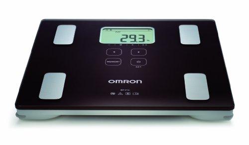 OMRON BF214 Bilancia e Misuratore Grasso Corporeo, Indice di Massa Corporea, Percentuale Muscolatura Scheletrica, Memoria per 4 Utenti