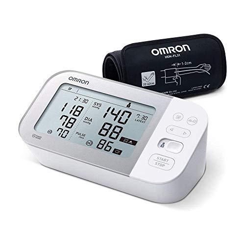 OMRON X7 Smart Misuratore di Pressione da Braccio, Rilevatore di Fibrillazione Atriale, Bluetooth e Bracciale Intelli Wrap, Bianco